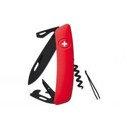 Swiza D03 All Black Red, Coltellino Svizzero made in Swiss