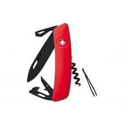 Swiza D03 All Black Red, Swiss army knife made in Swiss