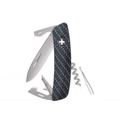 Swiza D03 AllMatt Carbon Fiber, Swiss army knife made in Swiss