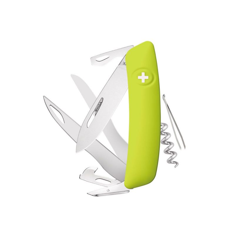 Swiza D07 Moss, Swiss Army Knife with scissors Made in Swiss