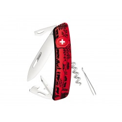 Swiza D03 Heidiland Red, multitool knife, Swiss army knife with 11 functions, multicolor, Made in Swiss.