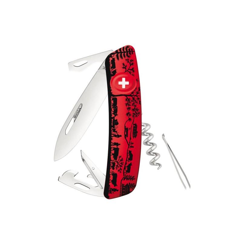 Schweizer Messer, Swiza D03 Heidiland Rot, mit 11 Mehrfarbenfunktionen, Made in Swiss.
