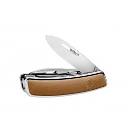 Swiza D03 Lux Leather Brown multiTool knife, Swiss army knife with 11 functions, multicolor, Made in Swiss.