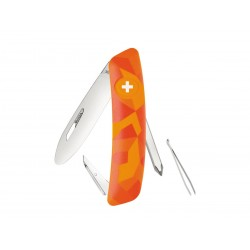 Swiza J02 Multitool Junior Urban Orange knife , Swiss Army Knife with 6 functions, Made in Swiss.
