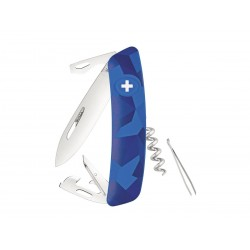 Schweizer Messer, Swiza C03 Camouflage Blue Urban, mit 11 Funktionen, Made in Swiss.