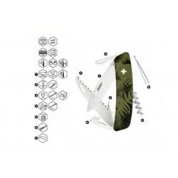 Schweizer Messer, Swiza C05 Camouflage Olivenfarn, mit 12 Funktionen Mehrfarben, Made in Swiss.
