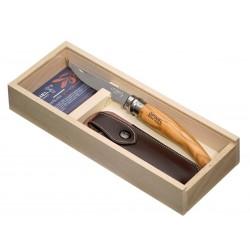 Coltello Opinel n.10 inox mod. filetto con manico in ulivo, fodero e Box in legno.