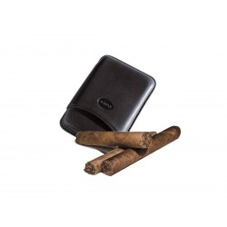 Smooth leather cigar case for 3 Tuscan cigars Black color, Jemar (leather cigar case)