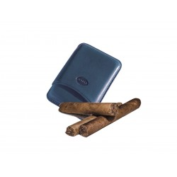 Smooth leather cigar case for 3 Tuscan cigars Blue color, Jemar (leather cigar case)