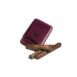 Smooth leather cigar case for 3 Tuscan cigars aubergine color, Jemar (leather cigar case)
