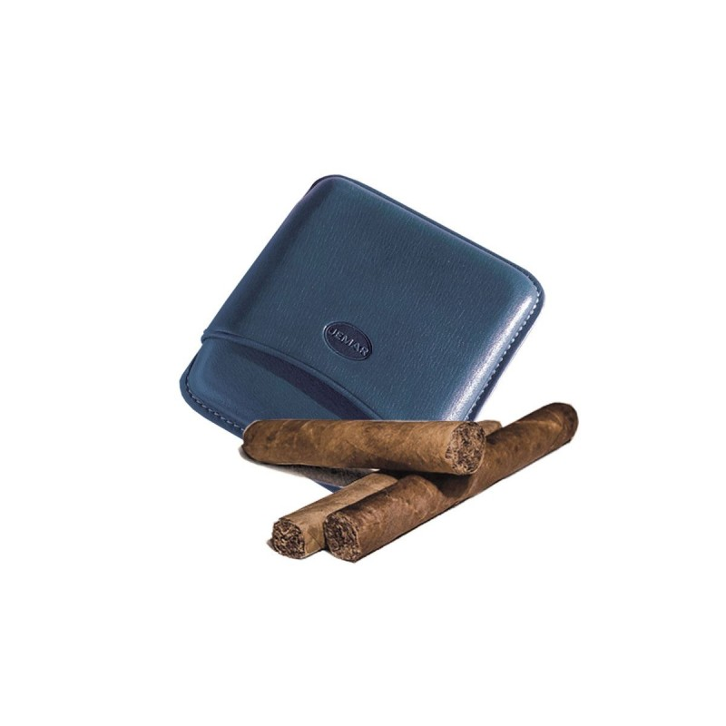 Smooth leather cigar case for 5 Tuscan cigars Color Blue, Jemar (leather cigar case)