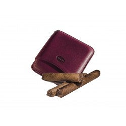 Smooth leather cigar case for 5 Tuscan cigars Color Aubergine, Jemar (leather cigar case)