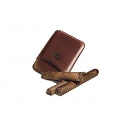 Portasigari liscio in cuoio per 3 sigari toscani Colore Marrone, Jemar (portasigari in pelle)