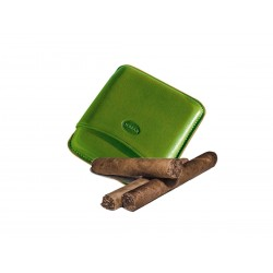Smooth leather cigar case for 5 Tuscan cigars Color green, Jemar (leather cigar case)