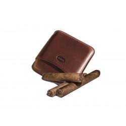 Portasigari liscio in cuoio per 5 sigari toscani Colore Marrone, Jemar (portasigari in pelle)