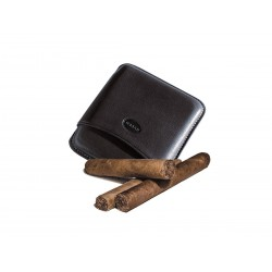 Glatte Leder-Zigarrenhülle für 5 toskanische Zigarren Schwarze Farbe, Jemar-Leder-Zigarrenetui