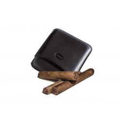 Portasigari liscio in cuoio per 5 sigari toscani Colore Black, Jemar (portasigari in pelle)