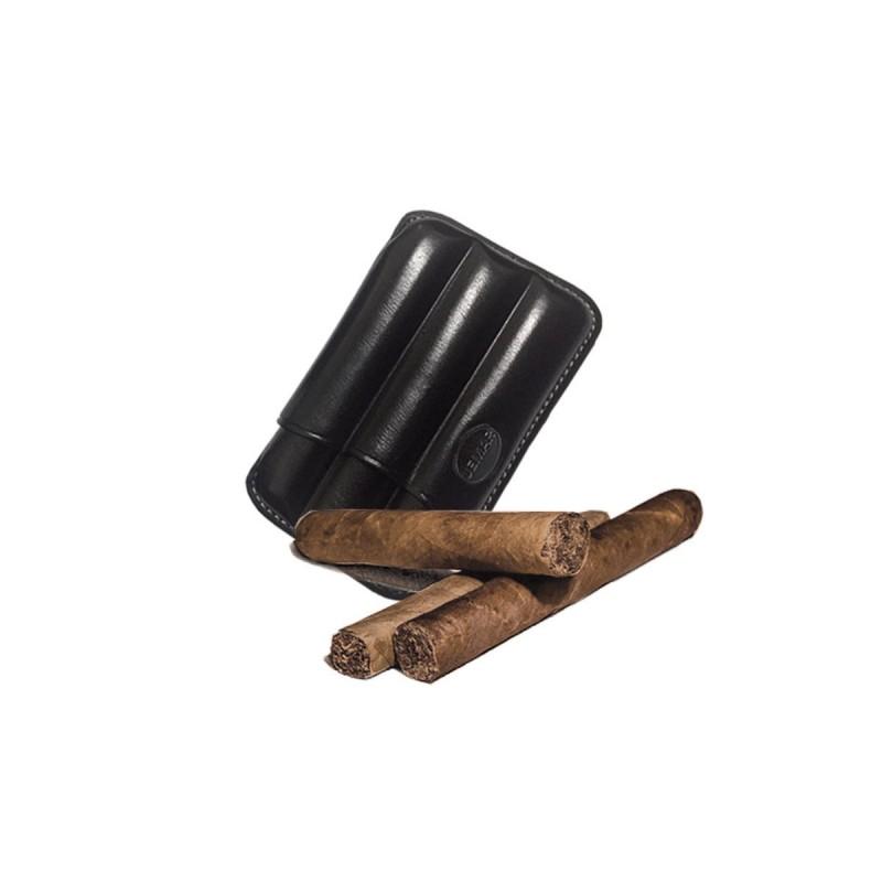 Fluted cigar holder, in black leather, Jemar cigar holder (leather)