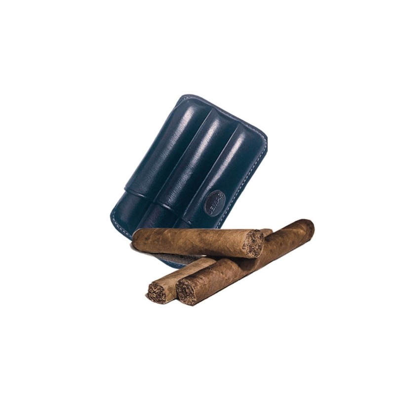 Fluted cigar holder, in Blue leather, Jemar cigar holder (leather)