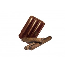 Fluted cigar holder, in Brown leather, Jemar cigar holder (leather)