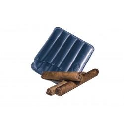 Portasigari toscani scanalato in pelle Blue, Portasigari Jemar (in cuoio per 5 sigari)
