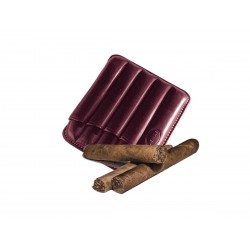 Fluted cigar holder, in aubergine leather, Jemar cigar holder (leather)
