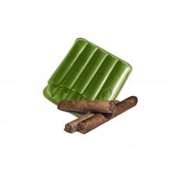 Portasigari toscani scanalato in pelle Verde, Portasigari Jemar (in cuoio per 5 sigari)