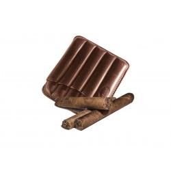 Toskanische Zigarrenetui aus braunem Leder, Jemar-Zigarrenetui (aus Leder für 5 Zigarren)