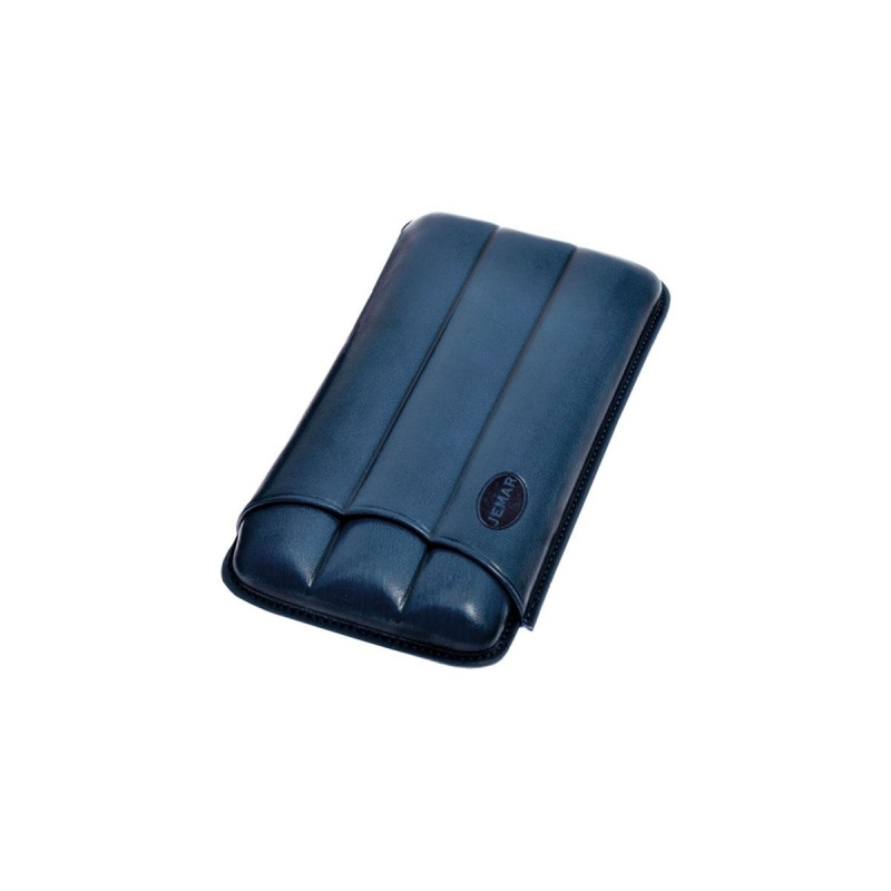 Cigar holder in grooved leather for three 3 cigars, Jemar cigar case in blue leather.