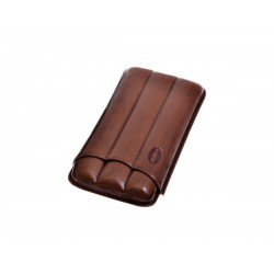 Cigar holder in grooved leather for three 3 cigars, Jemar cigar case in Brown leather.