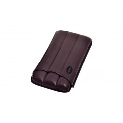 Cigar holder in grooved leather for three 3 cigars, Jemar cigar case in aubergine leather.