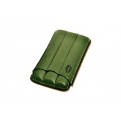 Cigar holder in grooved leather for three 3 cigars, Jemar cigar case in Green leather.