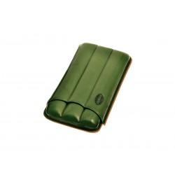 Portasigari in pelle scanalato per tre 3 sigari color verde, portasigari Jemar in cuoio.