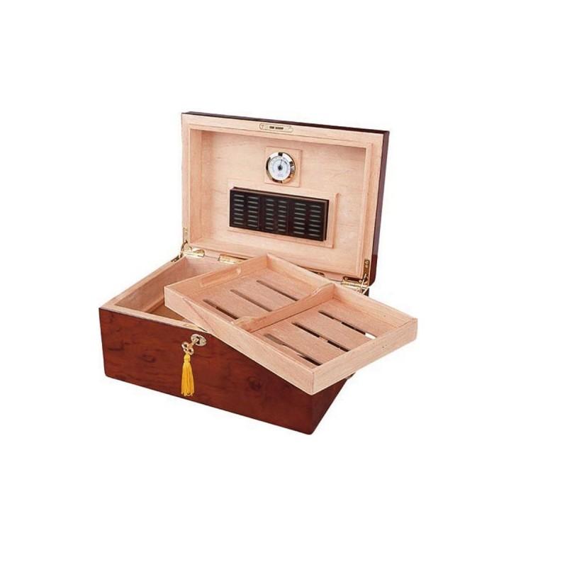 Umidificatore per sigari Quality Importers deauville per 100 sigari, Humidor da tavolo in legno