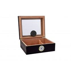 Umidificatore per sigari Quality Importers Capri black glasstop per 25 - 50 sigari, Humidor da tavolo in legno