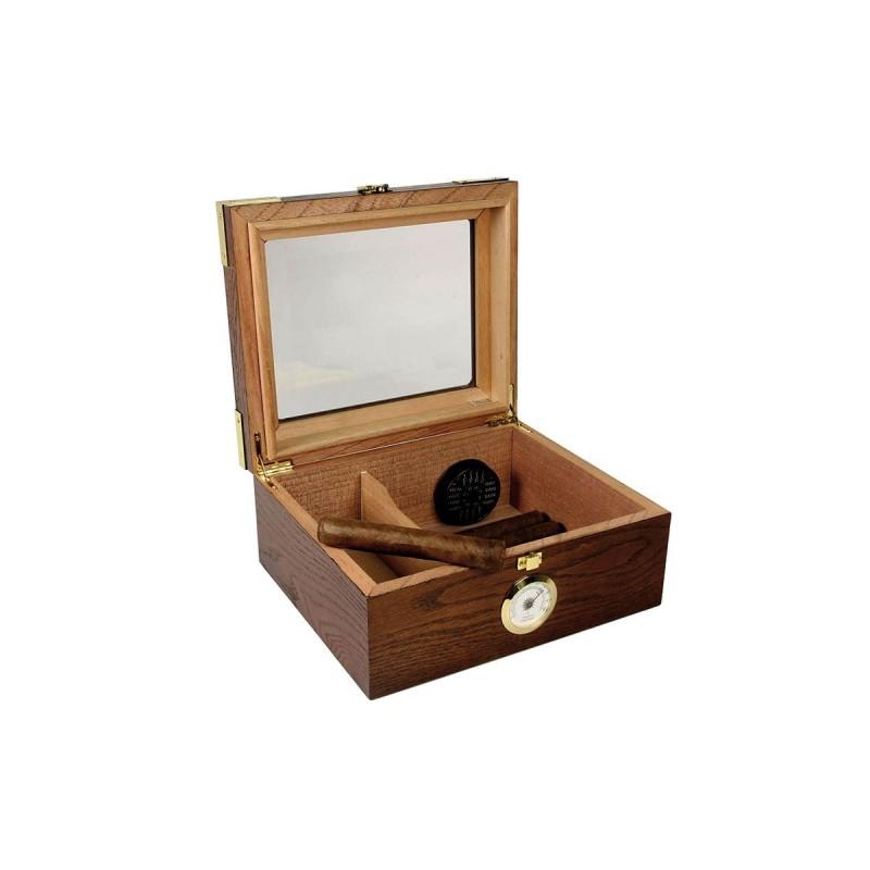 Umidificatore per sigari Quality Importers Capri Elegant glasstop per 25 - 50 sigari, Humidor da tavolo in legno