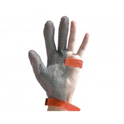 Steel mesh glove, Euroflex brand, three fingers stainless steel - Large size