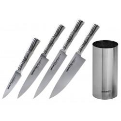 Set coltelli Samura Bamboo, 4 pezzi più ceppo coltelli in metallo.